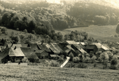 Ansicht auf das Dorf Linn um 1960.